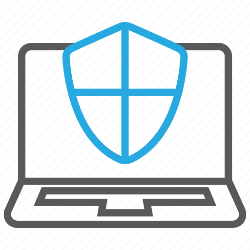computer, laptop, pc, protected, shield, technology icon