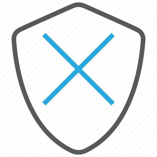 cancel, deactivate, deactivated, disable, protection, shield icon