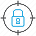 aim, goal, locked, padlock, target icon