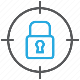 aim, goal, locked, padlock, target icon