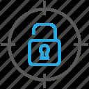 aim, goal, padlock, target, unlocked icon