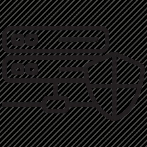 data, database, document, security, server, shield, storage icon