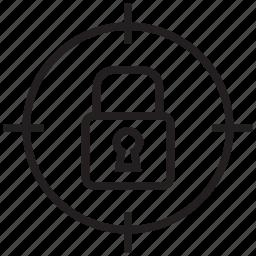 lock, locked, safe, secure, target icon