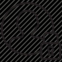 account, avatar, lock, locked, male, person, user icon