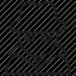 avatar, cyber, hacker, hat, internet, man, white icon