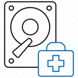 data, hard disk, recover, recovery, rescue icon