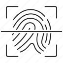 fingerprint, id, identification, identity, profile, scan, scanner icon