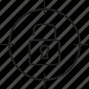 aim, focus, goal, padlock, target, unlocked icon