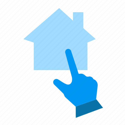 click, cursor, hand, house, internet, online, pointer icon
