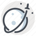 flying, moon, planets, rocket, spacecraft, spaceship, stars icon