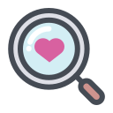find, heart, love, romantic, search, valentine, zoom icon
