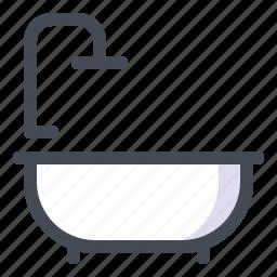 bath, bathroom, bathtub, design, house, interior, shower icon