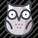 animal, night, owl, scary, school, study, teaching icon