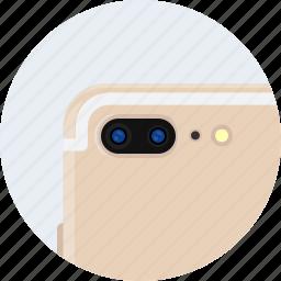 apple, camera, dual, flash, gold, iphone7, plus icon