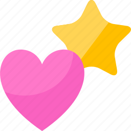 heart, shapes, star icon
