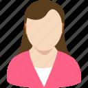 account, avatar, female, gender, human, profile, secretary icon