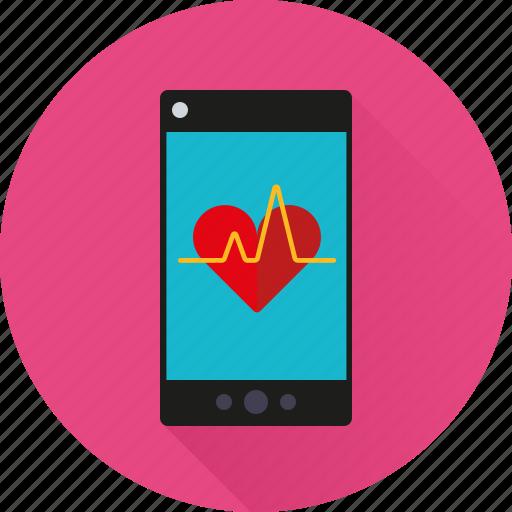 app, health, heartbeat, medicine, mobile, phone, pulse icon