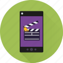 app, clapper, mobile, movie, phone, smartphone, video icon