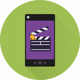 app, clapper, mobile, movie, phone, smartphone, video icon
