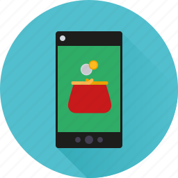 app, application, mobile, money, payment, phone, purse icon