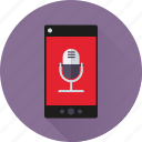 app, microphone, mobile, phone, recording, sound, speech icon