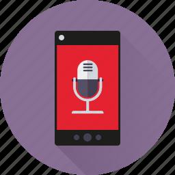 app, microphone, mobile, phone, recording, sound, speech icon