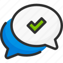 approve, chat, check, forum, mark, message, ok icon