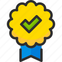 approve, check, mark, medal, ok, ribbon, tick icon