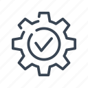 approve, approved, tick, gear, verified, checked, accepted icon