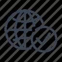 world, earth, globe, tick, checked icon