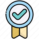 badge, award, medal, approved, done, check, accept