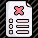 list, checklist, document, rejected, denied, cancel, block