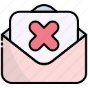 mail, message, letter, rejected, denied, cancel, block