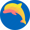 aquatic creatures, dolphin, fish, fishing, ocean, sea icon