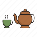 artifact, kettle, cup, drink, hot coffee, teapot