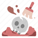 ancient, brush, civilization, dig, discover, excavation, skull icon