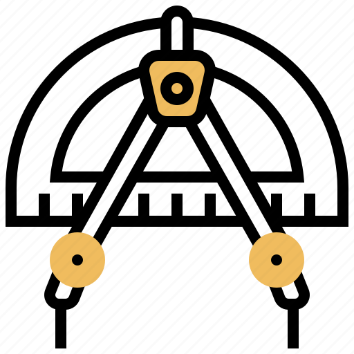 compasses, drawing, math, protractor, tool icon