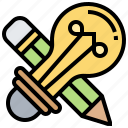 bulb, creative, design, idea, pencil icon