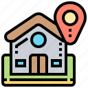 address, house, location, map, navigation icon