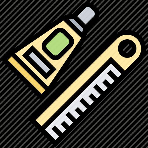 glue, line, repair, ruler, wood icon
