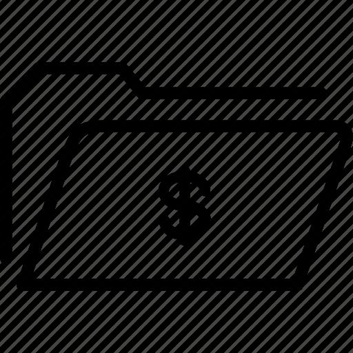 currency, data, document, dollar, file, folder, storage icon