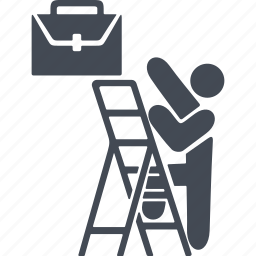 briefcase, career, career ladder, job, stairs icon