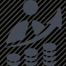 arrow, career ladder, increase, money, success icon