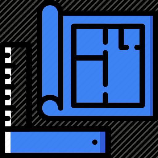 architecture, blueprint, building, estate, tools icon