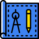 blueprint, building, tools, architecture, estate