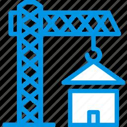 architecture, building, crane, estate icon