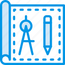 architecture, blueprint, building, estate, tools icon