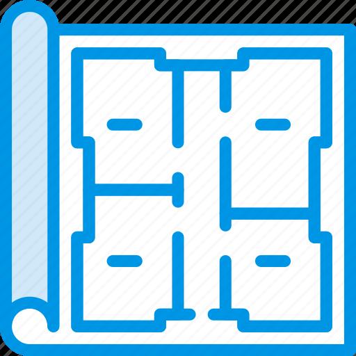 architecture, blueprint, building, estate icon