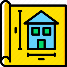 architecture, blueprint, building, estate icon