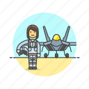 air, aircraft, army, military, pilot, plane, soldier, woman icon
